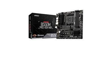 MOTHERBOARD MSI B550M PRO (AMD), SOCKET AM4, CPU R3,R5,R9, AMD B550 CHIPSET, DDR4 MEMORY FROM 2133 TO 4600+ MHZ, MEMORY CHANNEL DUAL, DIMM SLOTS 2, MAX MEMORY (GB) 128, PCI-E X16 1, PCI-E GEN GEN3, PCI-E X1 1, SATAIII 4, M.2 SLOT 1, 1, LAN REALTEK 8111H, USB (FRONTAL) 1(GEN 1, TYPE C), 2(GEN 1, TYPE A), (TRASEROS) 4(GEN 1, TYPE A), USB 2.0 4X FRONTAL, 2X USB 2.0 TRASEROS, DISPLAYPORT 1, VGA 1, DIRECTX 12, FORM FACTOR MATX, WINDOWS 10, 64 BIT